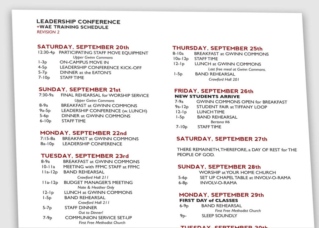Conference Schedule.1600